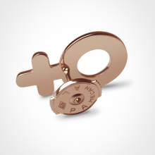 Système Alpa du pin's SEX SYMBOL BOY en or rose millièmes de la collection de bijoux pour enfants MIKADO.