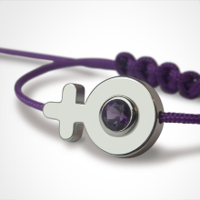 SEX SYMBOL GIRL amethyst bracelet in 750 white gold and cherry cord by the jewellery collection for children MIKADO.