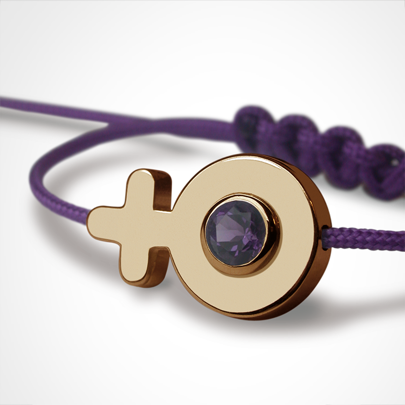 SEX SYMBOL GIRL amethyst bracelet in 750 yellow gold and purple cord by the jewellery collection for children MIKADO.