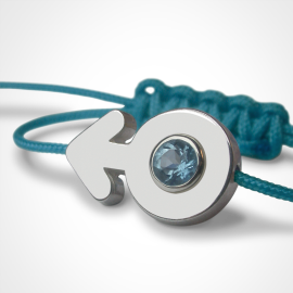 SEX SYMBOL BOY blue topaz bracelet in 750 white gold and blue cord by the jewellery collection for children MIKADO.