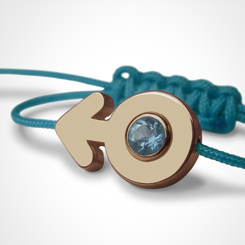 SEX SYMBOL BOY blue topaz bracelet in 750 yellow gold and blue cord by the jewellery collection for children MIKADO.